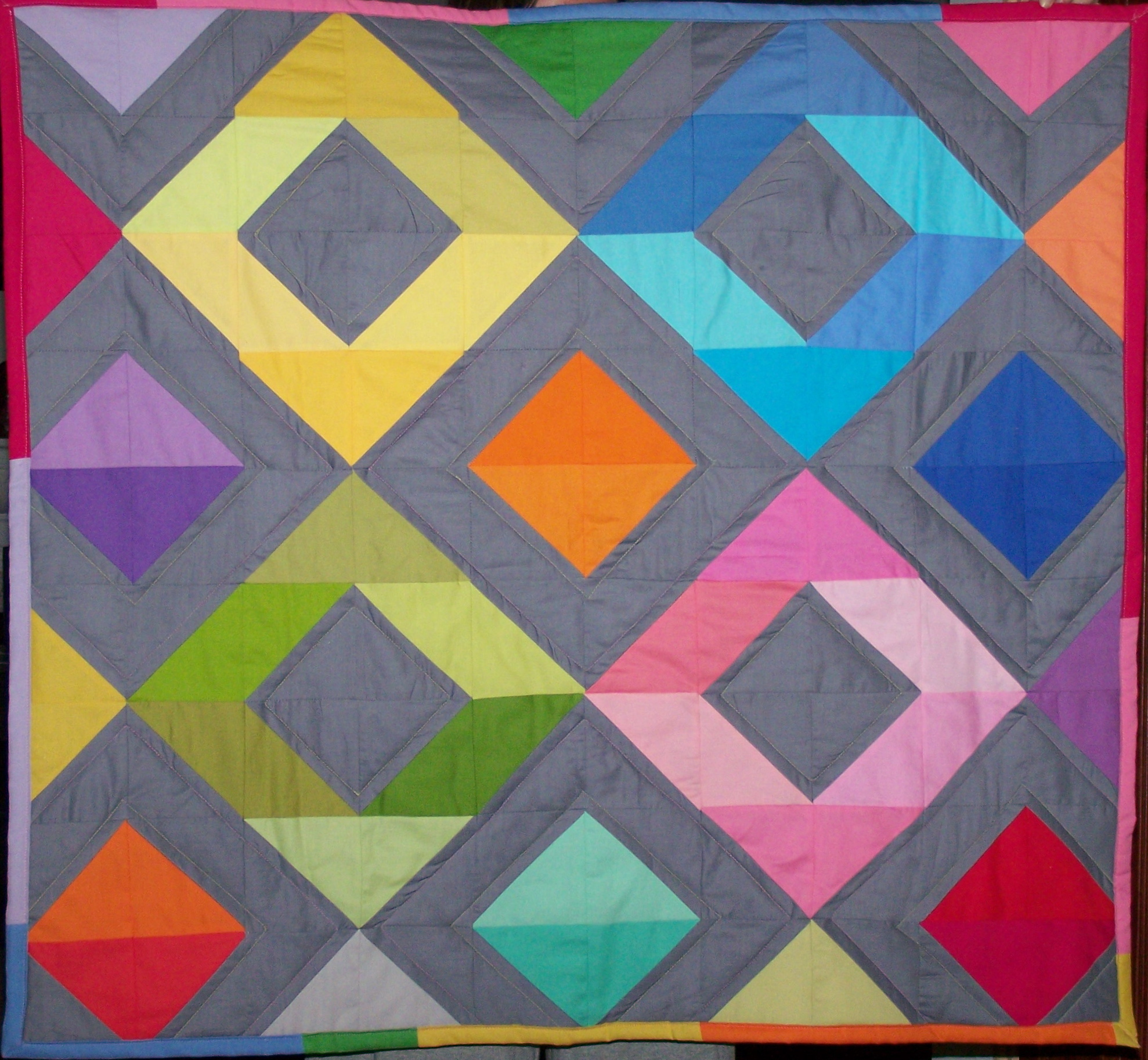 Diamond Pattern For Quilting : Rainbow Diamonds Mini Quilt Tutorial Craft Buds