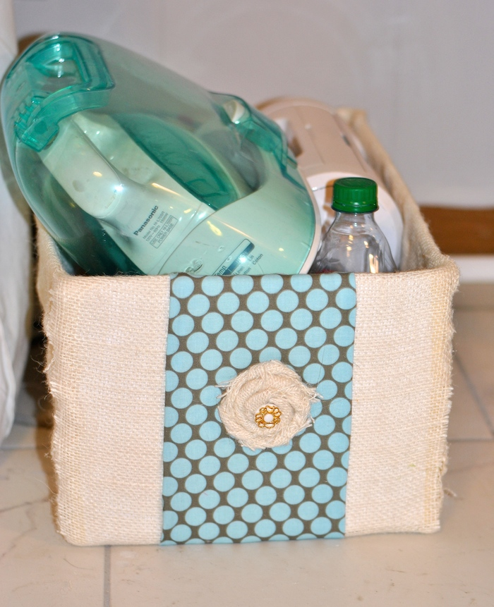 Fabric storage box from diaper box